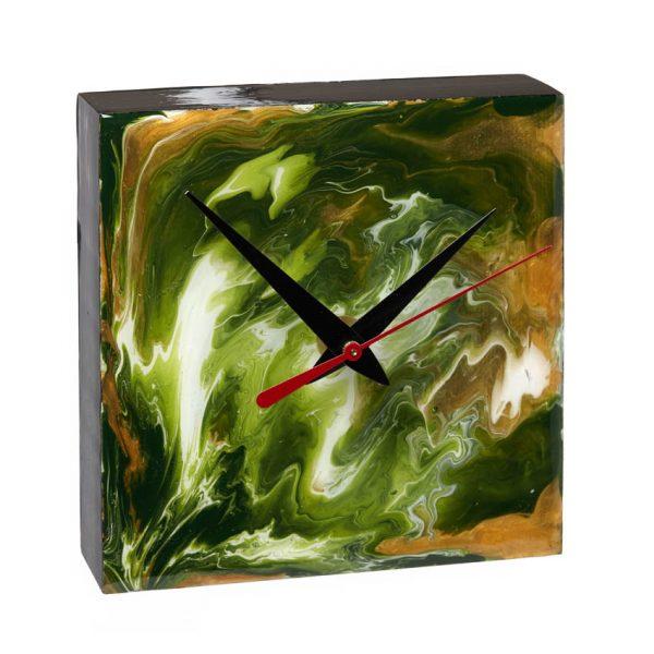 Desk Clock - Green _ Gold
