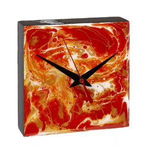 Desk Clock - Red _ Gold
