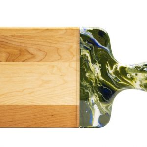maple cheese board - dark green marble texture