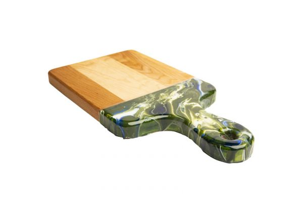 maple cheese board - dark green marble texture