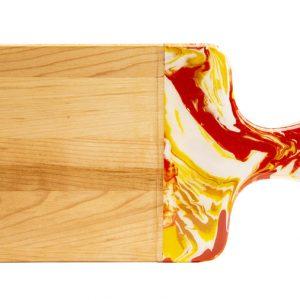 Maple wood cheese board - yellow and orange