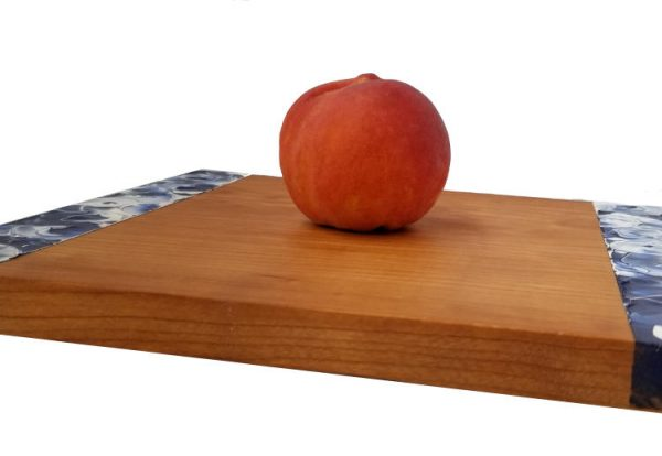 Somerset Collection - Delphinium cherrywood platter with a peach