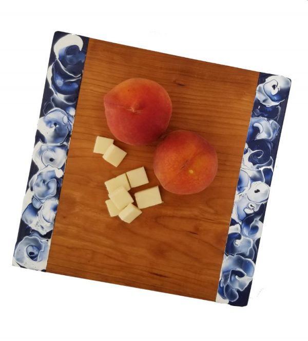 Somerset Collection - Delphinium with peaches and cheeseSomerset Collection - Delphinium with peaches and cheese cherrywood platter overhead view