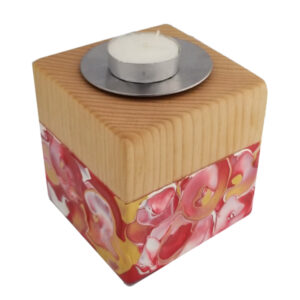 solid maple cube to hold a tea light or votive candle
