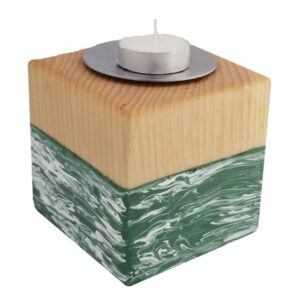 solid maple cube to hold a votive candle