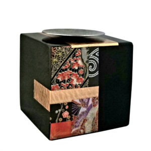 solid maple cube to hold a tea light or votive candle mosaic with earth tones